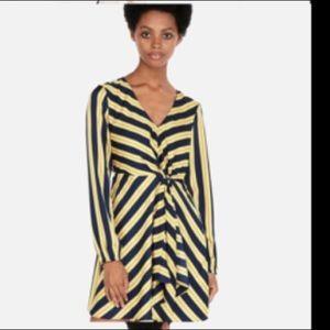 Express navy/yellow stripe mini dress XS